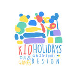 Kid Holidays, fun and games logo template original design colorful hand drawn vector Illustration Stock Photo