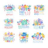Kid Holidays, Happy Birthday logo template original design set, colorful hand drawn vector Illustrations Royalty Free Stock Photography