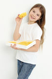 Kid and home pasta Stock Images