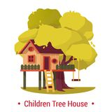 Kid house or home on tree with ladder and seesaw or swing. Stock Images