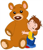 Kid hug bear Stock Images