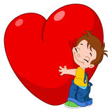 Kid hug heart Stock Photo
