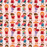 Kid hug heart seamless pattern Royalty Free Stock Photos