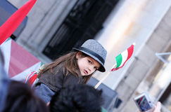 Kid with hungarian coloured flag. Kid with hungarian flag and cockade Royalty Free Stock Photo