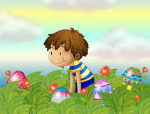 A kid hunting eggs Stock Image