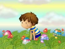 A kid hunting eggs vector illustration