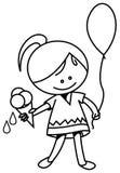 Kid with ice cream and balloon Stock Photos