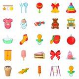 Kid icons set, cartoon style Royalty Free Stock Image
