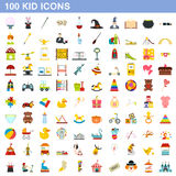 100 kid icons set, flat style Royalty Free Stock Photo