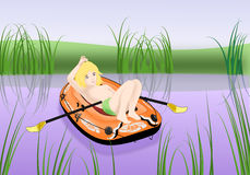 Kid in Inflatable Boat Royalty Free Stock Image