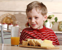 Kid with juice Royalty Free Stock Photo