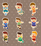Kid jump stickers Royalty Free Stock Images