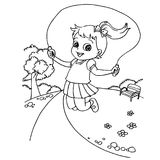 Kid jumping rope cartoon  coloring page vector. Illustration Stock Photo