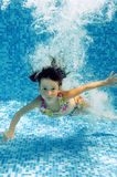 Kid jumps to swimming pool, underwater view Stock Images