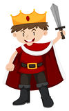 Kid in king costume with sword Stock Images