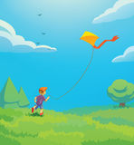 Kid with kite. Illustration of a kid playing with kite Stock Images