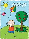 Kid with kite. Running happy kid with kite . hand drawn illustration Royalty Free Stock Image