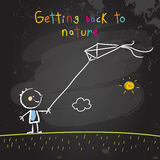 Kid with kite. Kid getting back to nature, playing with a kite. Summer holiday concept vector illustration. Educational chalk on blackboard doodle, sketch Royalty Free Stock Image
