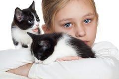 Kid and kitten Stock Photo