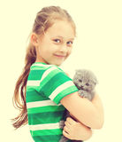 Kid and kitty Royalty Free Stock Image
