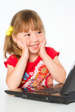 Kid with laptop Stock Image