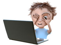 Kid with laptop Royalty Free Stock Images