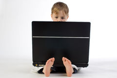 Kid with a Laptop Stock Photo