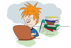 Kid with Laptop  And Books Royalty Free Stock Photography