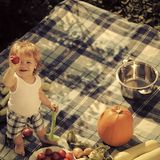 Kid lays preservation. Small boy on picnic. Kid lays preservation. One small cook smiling boy at picnic standing with ladle pot orange pumpkin squash and stock images