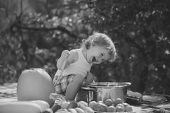 Kid lays preservation. Smiling boy at picnic. Kid lays preservation. One playful boy at picnic sitting with ladle pot orange pumpkin red tomato squash and stock images