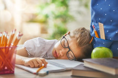 Kid is learning in class stock photos