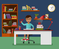 Kid learns concept. Child reading book and learning in his room with working desk, lamp, bookcase, files and books. Flat vector illustration Royalty Free Stock Photo