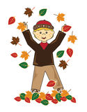 Kid in leaves blond hair boy Stock Images