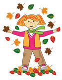 Kid in leaves red hair girl Royalty Free Stock Images
