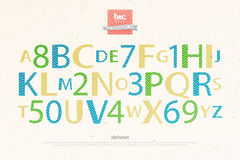 Kid letters. Cartoon style alphabet letters and numbers over paper texture. vector, comic font type design. kids entertainment lettering. comical book Royalty Free Stock Image