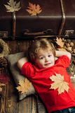 Kid lies laying his hands behind head and resting on wooden floor in golden leaves. Smiling little boy playing with royalty free stock photo