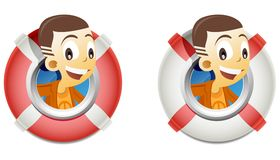 Kid in a lifebuoy boat Royalty Free Stock Images