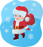 Kid like Santa with gifts Stock Images