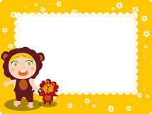 Kid and Lion frame. Abstract  illustration of kid and Lion Toys frame Stock Image