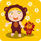 Kid and Lion Toys. Abstract  illustration of kid and Lion Toys Stock Photos