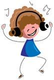 Kid listening music with dance. Line art funny cartoon image royalty free illustration