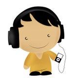 Kid listening to music Stock Photo