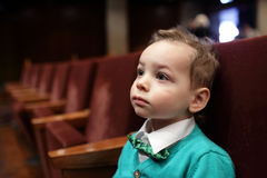Kid listening to music royalty free stock photos