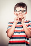 Kid little boy making silly face expression. Stock Photography