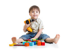 Kid little boy playing on floor Stock Photography