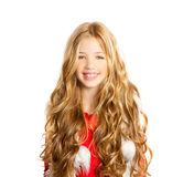 Kid little girl with christmas winter white fur Royalty Free Stock Photos