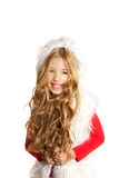 Kid little girl with christmas winter white fur Royalty Free Stock Photo