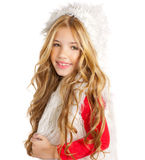 Kid little girl with christmas winter white fur. And red shirt stock photo