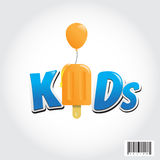 Kid logo design with ice-cream and balloon symbol Royalty Free Stock Image
