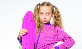 Kid long hair carry penny board. Plastic skateboards for everyday skater. Child hold penny board. Penny board of her. Dream. Choose skateboard that looks great stock images